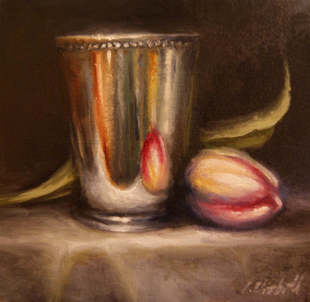 """Mint Julep Cup and Pink Tulip Still Life"" original fine art by Carolina Elizabeth"
