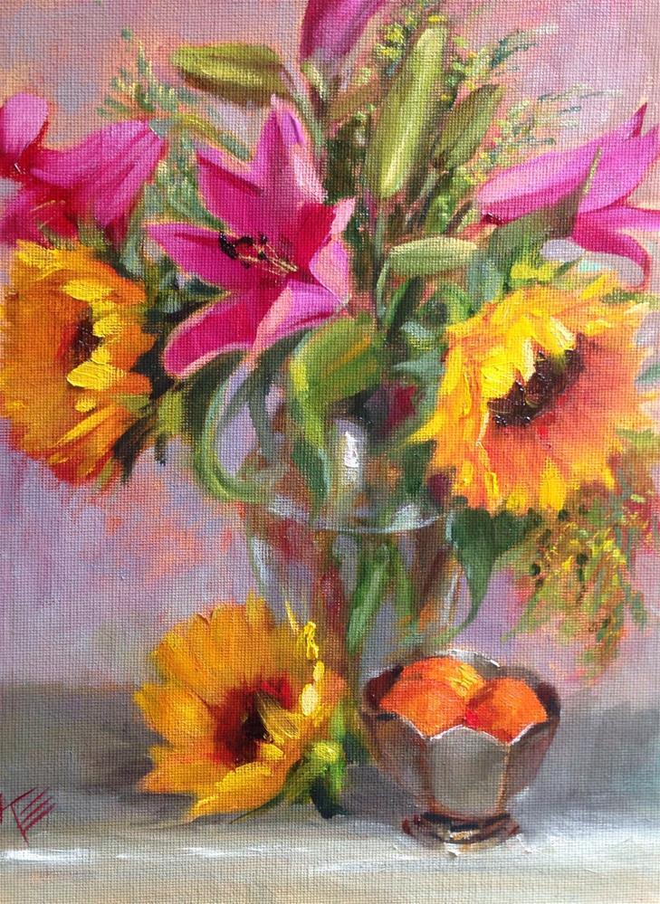 """Sunflowers & Lilies"" original fine art by Krista Eaton"
