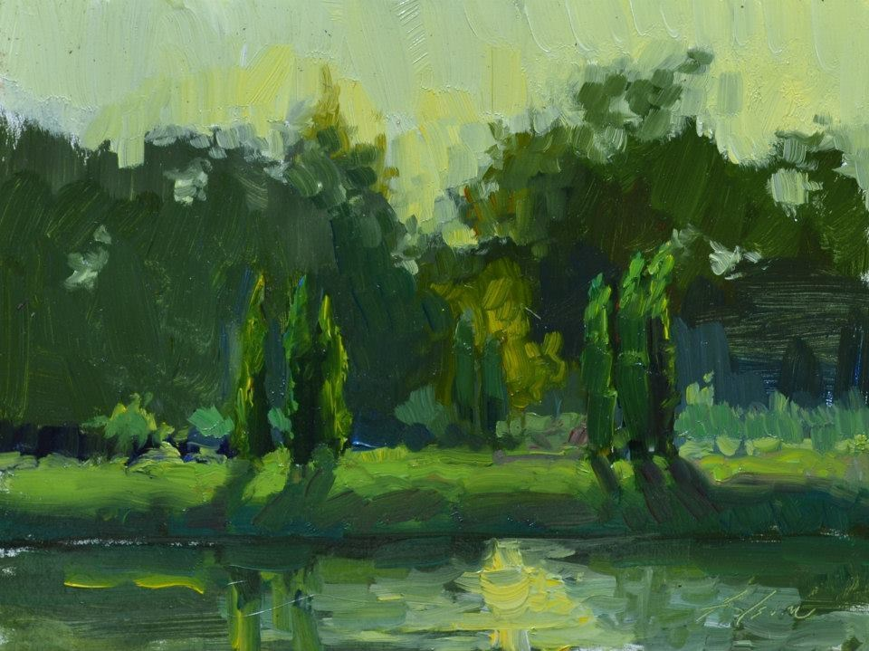"""Evening Pond Glow"" original fine art by Kelli Folsom"