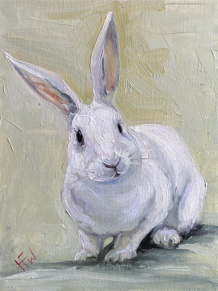 """White Rabbit"" original fine art by H.F. Wallen"