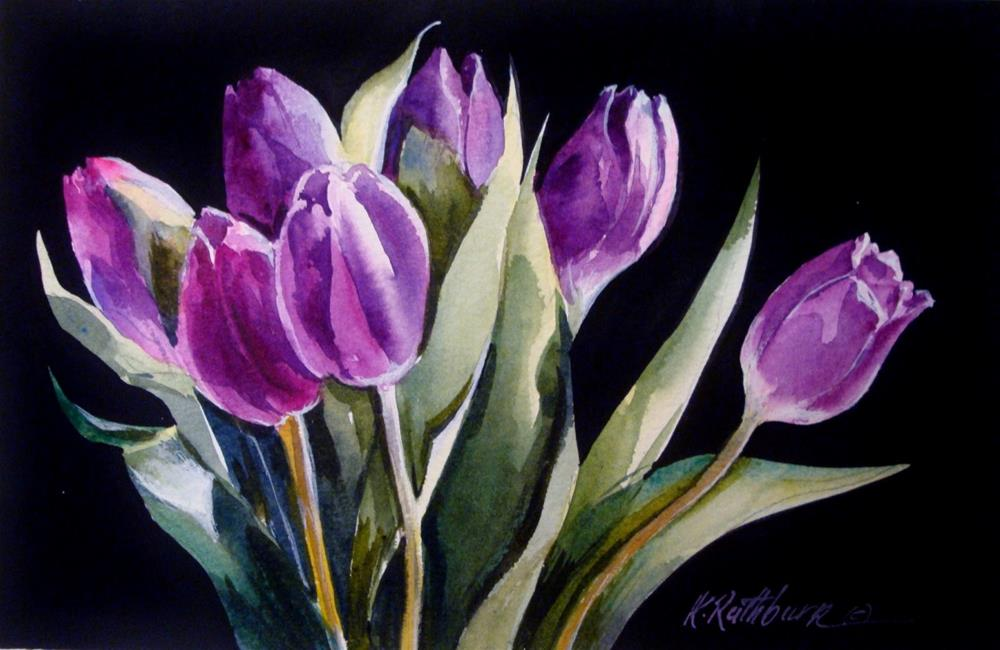 """Tulips in Purple"" original fine art by Kathy Los-Rathburn"