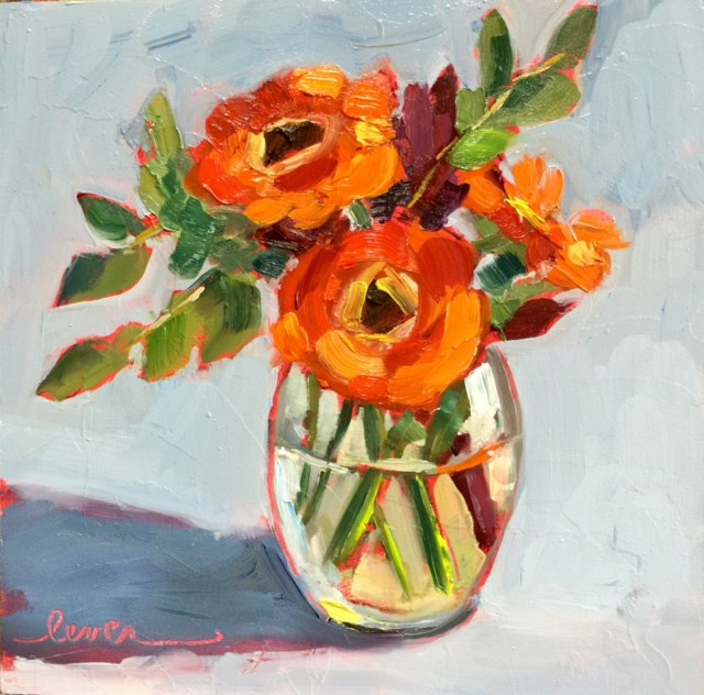 """Orange Gerbers"" original fine art by Martha Lever"