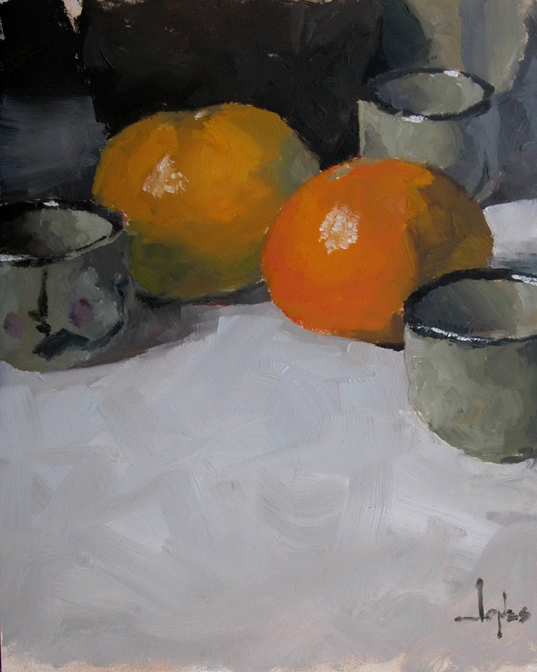 """Tangerines and Sake Cups"" original fine art by Richard Jones"