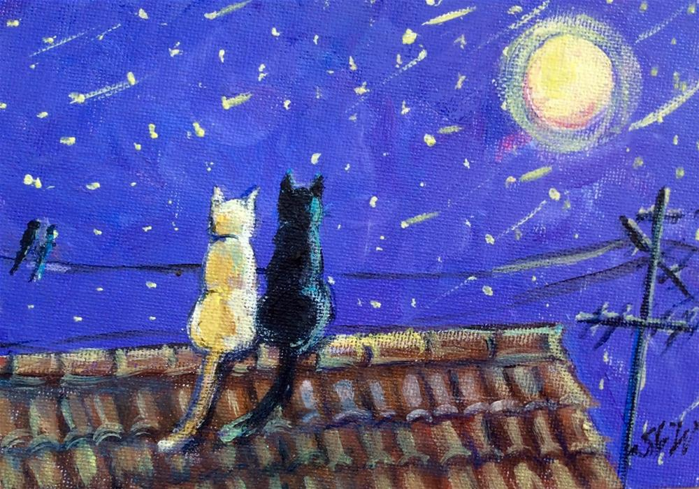 """Meow! It is a full moon!"" original fine art by Sonia von Walter"