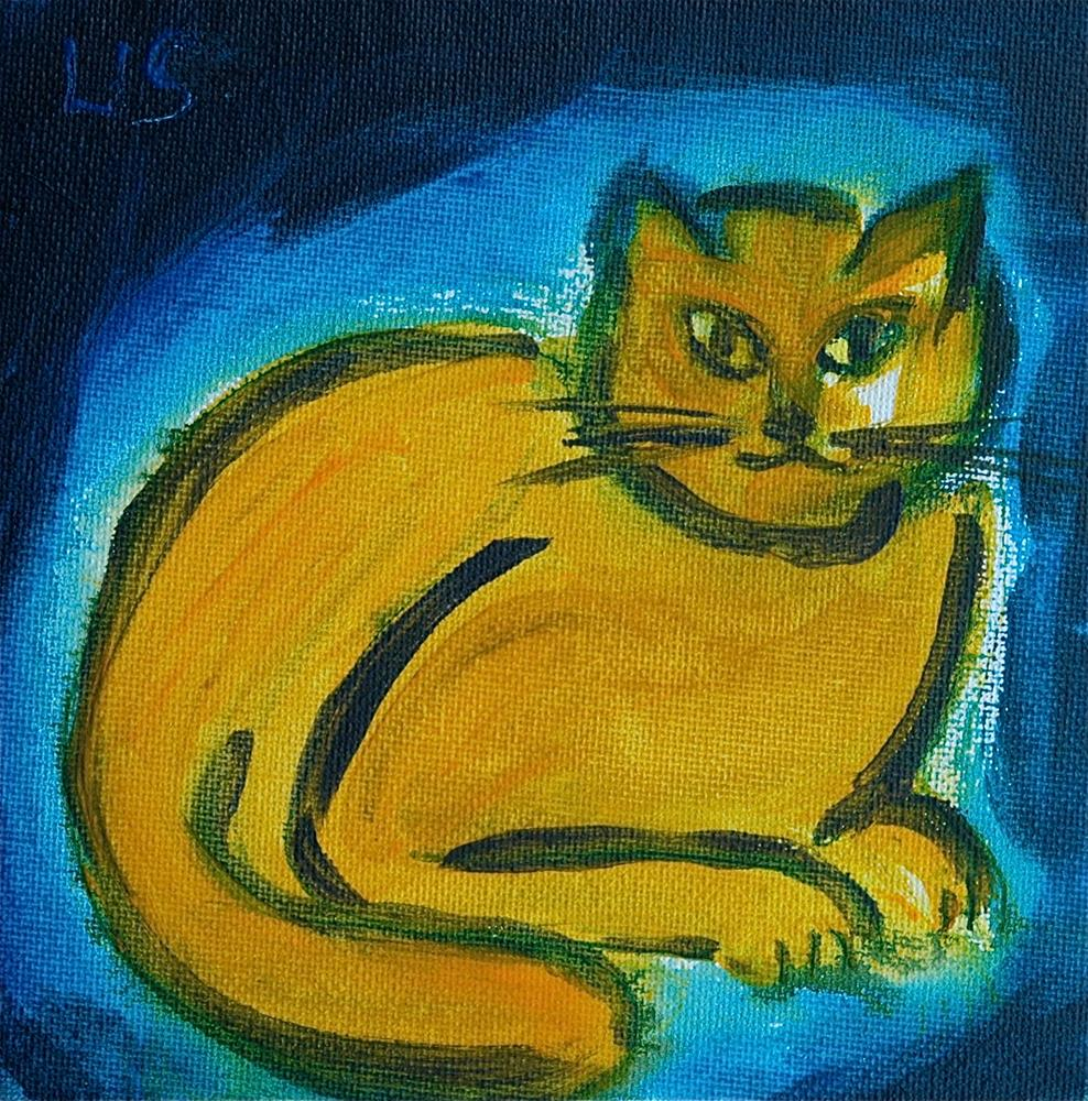 """Yellow cat (blue background)"" original fine art by Ulrike Schmidt"