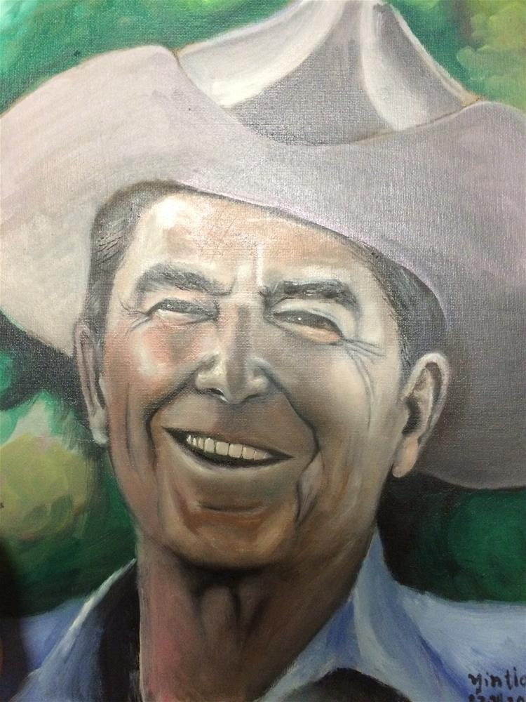"""portrait of Ronald Reagan"" original fine art by tian yin"