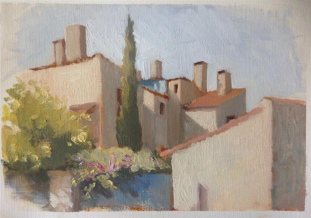 """Street corner"" original fine art by Christine Bayle"