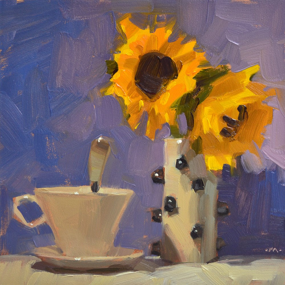 """Drinking Tea in the Sun"" original fine art by Carol Marine"