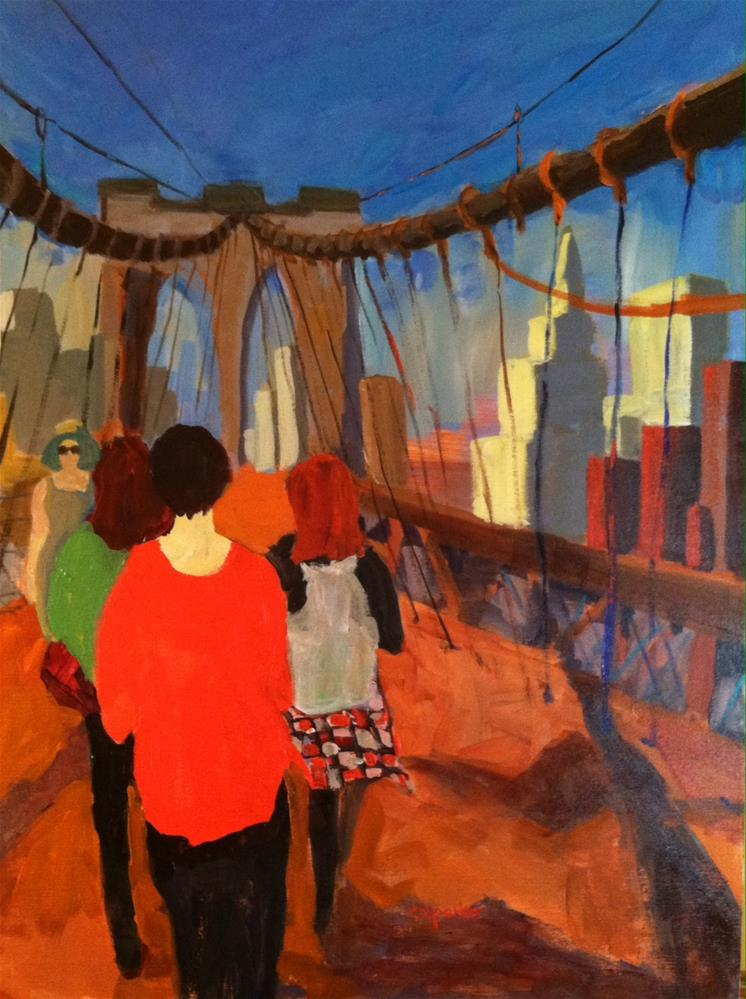 """Walking Brooklyn Bridge"" original fine art by Christine Parker"
