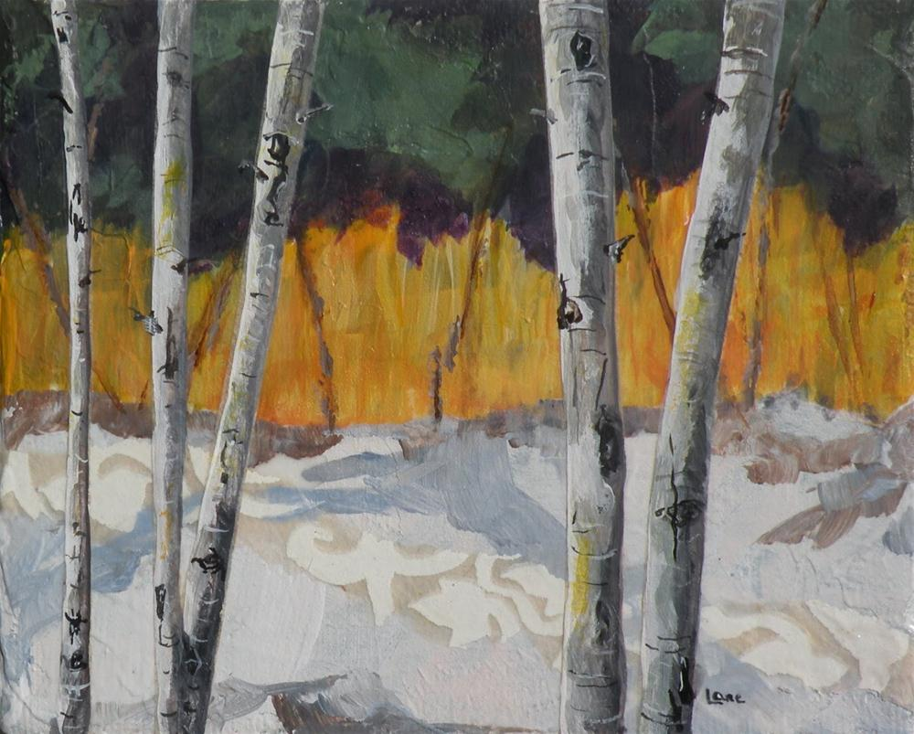 """WINTER ASPEN ORIGINAL MIXED MEDIA PAINTING OF ASPEN TREES IN WINTER © SAUNDRA LANE GALLOWAY"" original fine art by Saundra Lane Galloway"