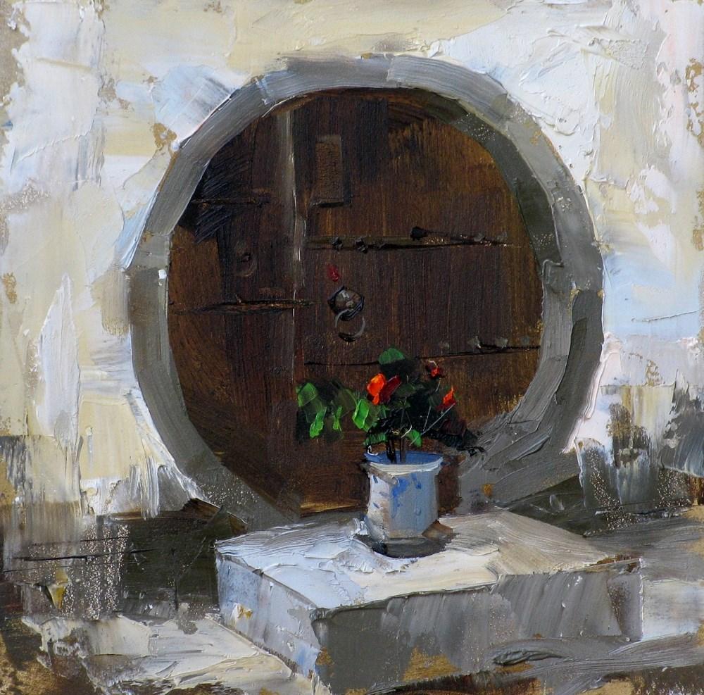 """A Round Door"" original fine art by Qiang Huang"