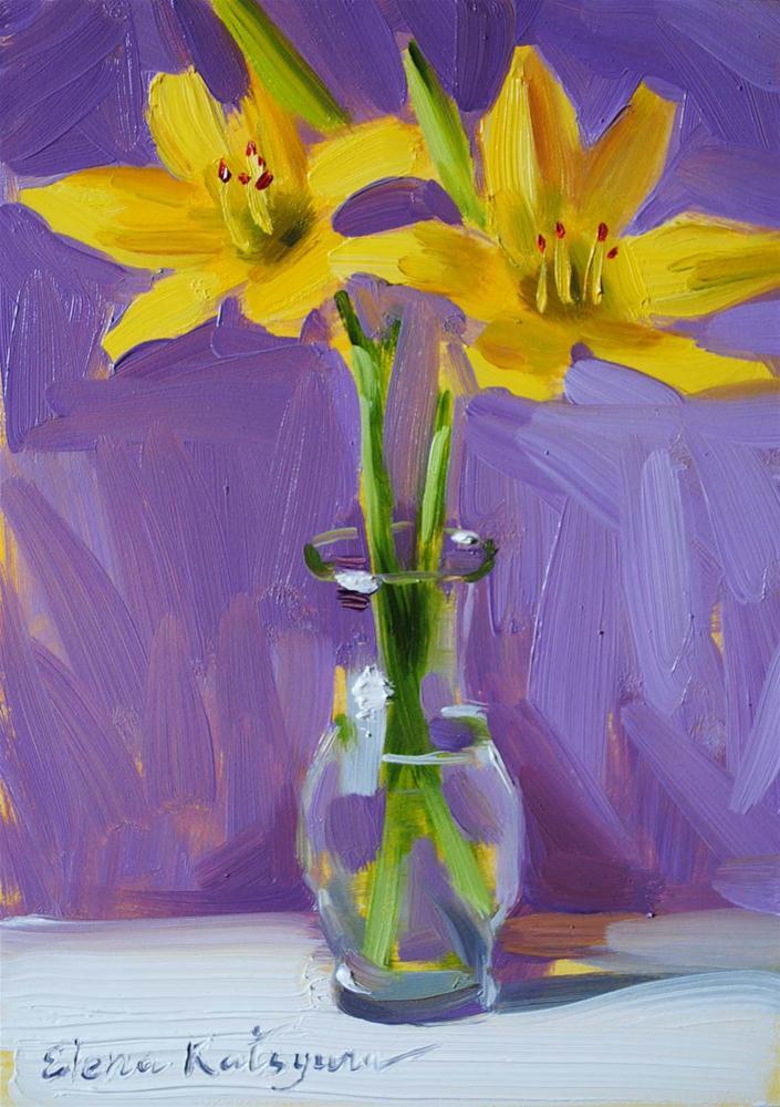 """Lilies in a Vase"" original fine art by Elena Katsyura"