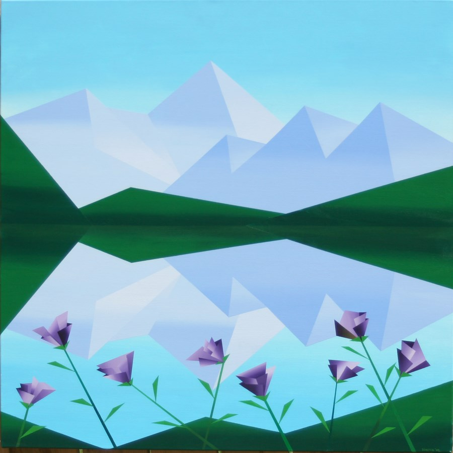 """Mark Webster - Abstract Geometric Mountain Lake with Purple Flowers Acrylic Painting"" original fine art by Mark Webster"