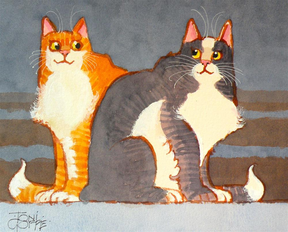 """Cat Chums"" original fine art by Toni Goffe"