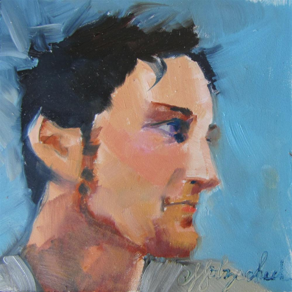 """Jordan  4x4 portrait oil sold"" original fine art by Christine Holzschuh"