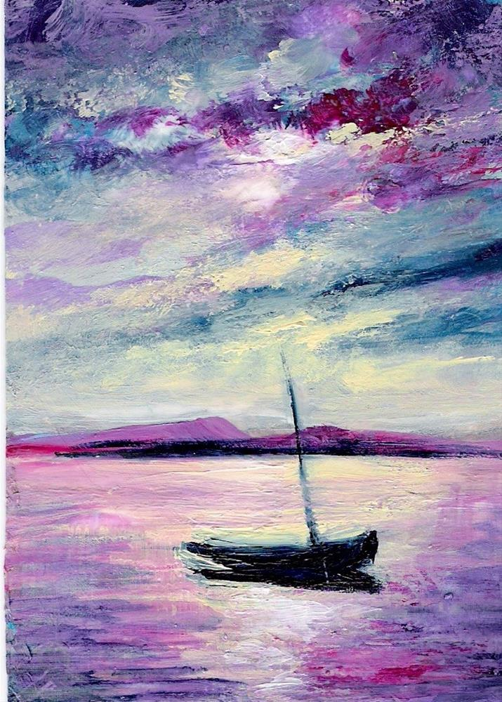 """3188 - MOONLIT MOORINGS - ACEO Series"" original fine art by Sea Dean"