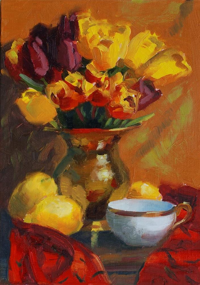 """""""No. 420 Golden Tulips"""" original fine art by Susan McManamen"""