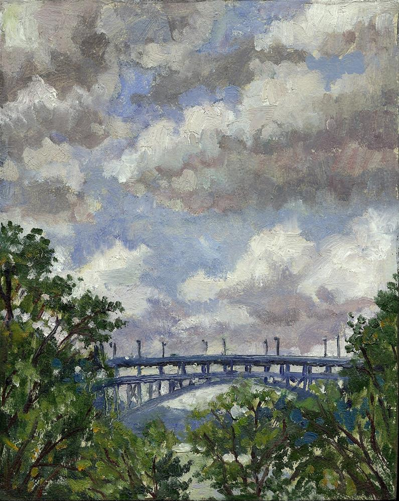 """Clouds Rolling In, Henry Hudson Bridge From Inwood, NYC"" original fine art by Thor Wickstrom"