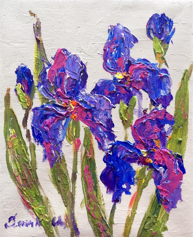 """Three irises"" original fine art by Sonia von Walter"