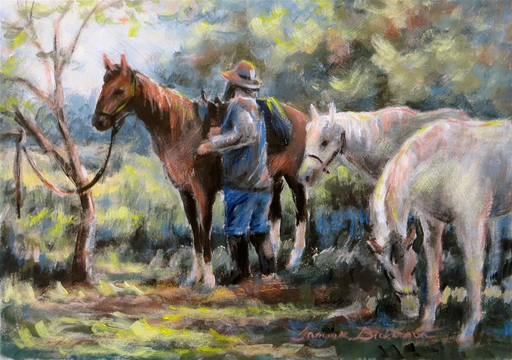"""Unpacking the Horses"" original fine art by Tammie Dickerson"