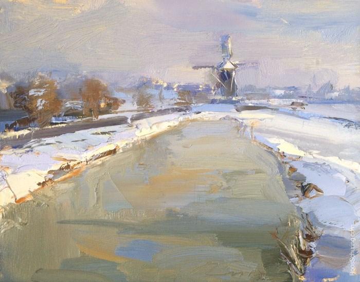 """Snow in Bright Morning Sun"" original fine art by Roos Schuring"
