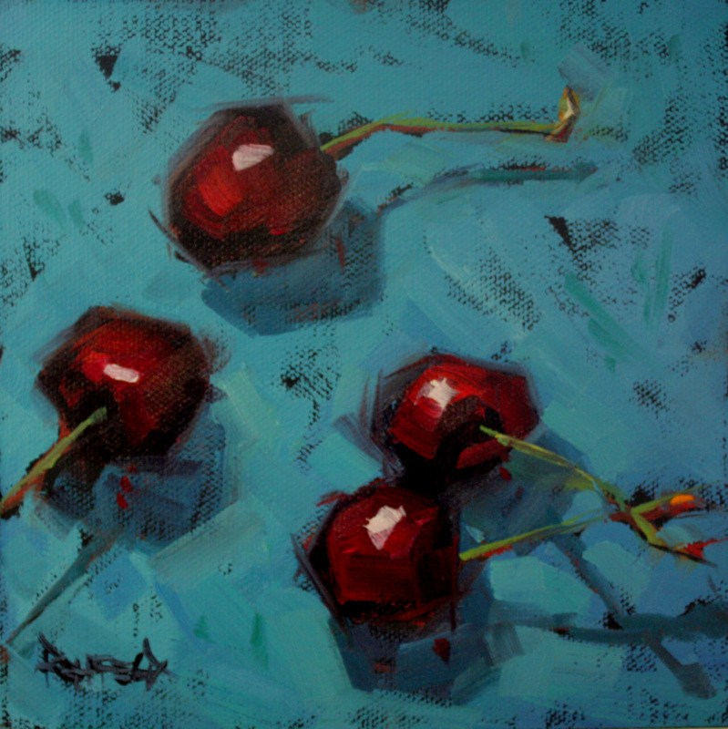 """Cherries And Their Shadows"" original fine art by Cathleen Rehfeld"