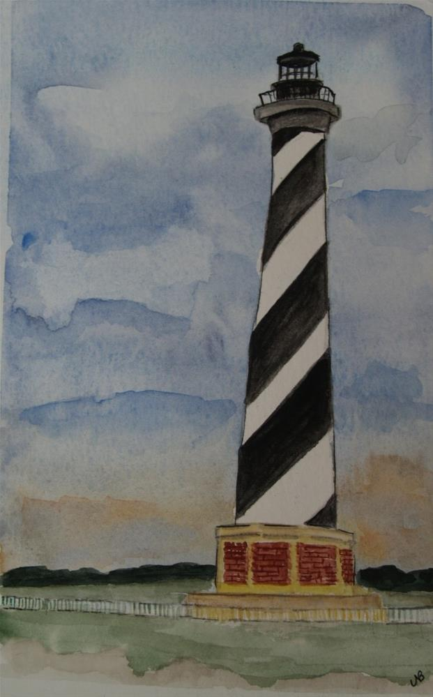 """Cape Hatteras Light  9x x 6  SOLD"" original fine art by Nancy Beard"