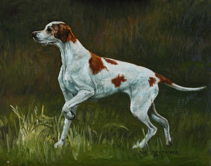 """English Pointer 120829"" original fine art by Sue Deutscher"