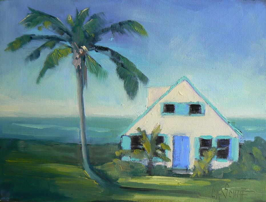 """LITTLE HOUSE BY THE SEA, 6X8, OIL"" original fine art by Carol Schiff"
