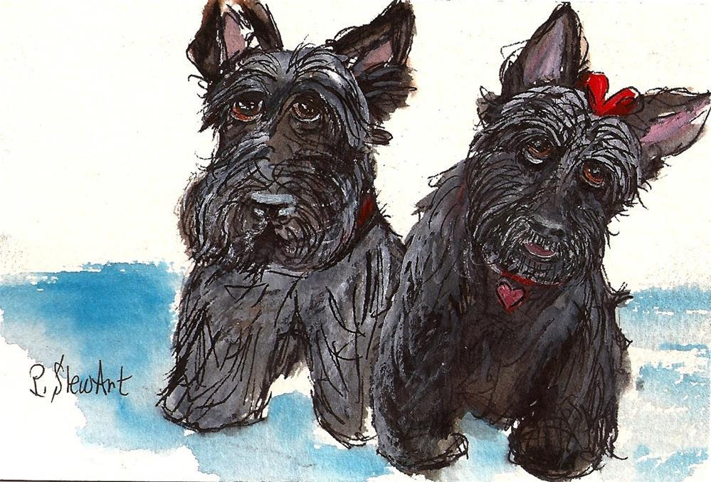 """""""4x5 Two Scottie Dogs Boy and Girl Watercolor Pen Gouache SFA by Penny StewArt"""" original fine art by Penny Lee StewArt"""
