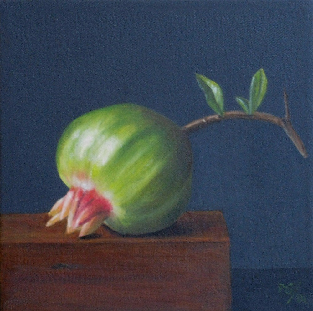 """Green Pomegranate"" original fine art by Pera Schillings"
