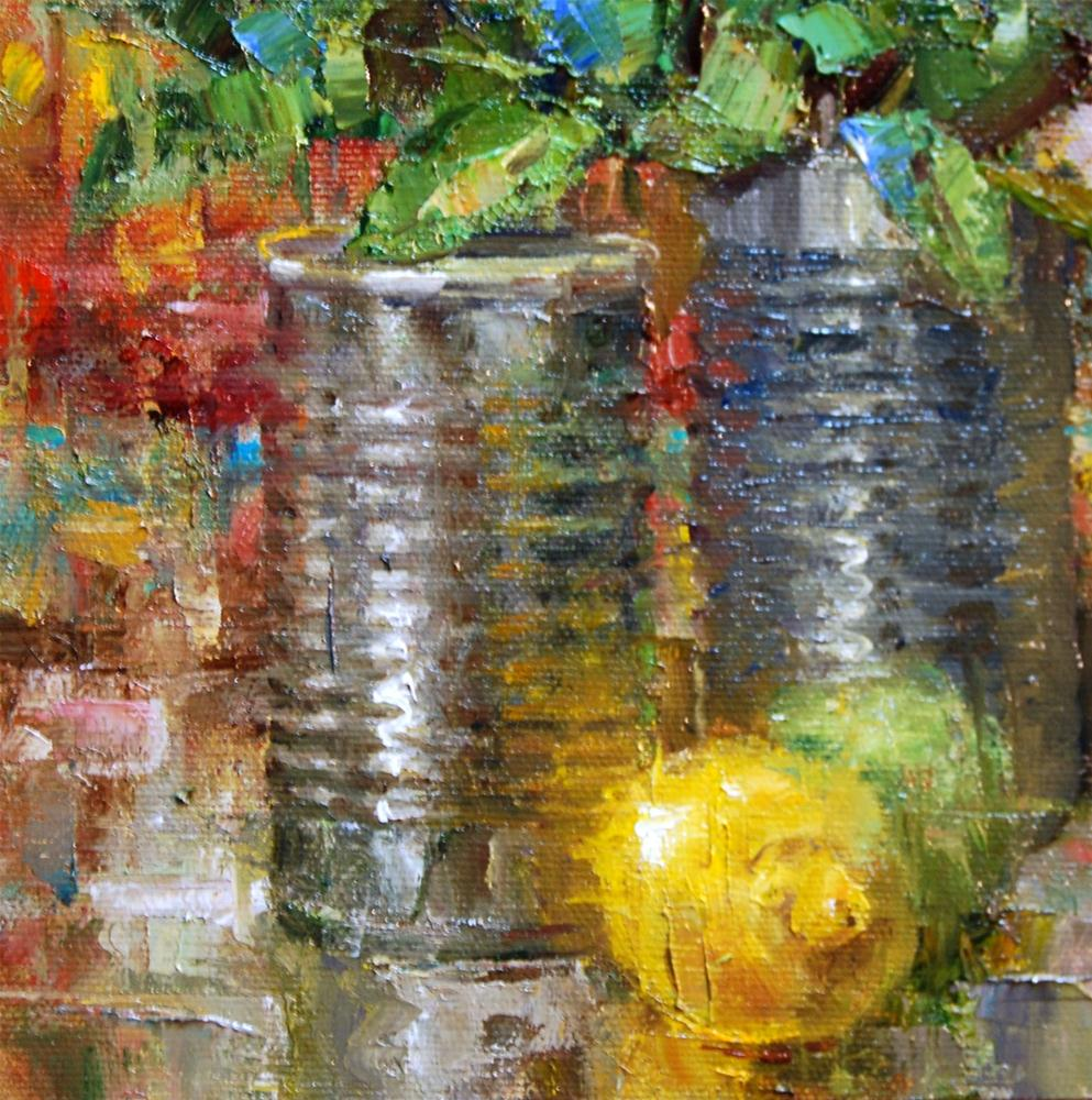 """Lemon with Cans"" original fine art by Julie Ford Oliver"