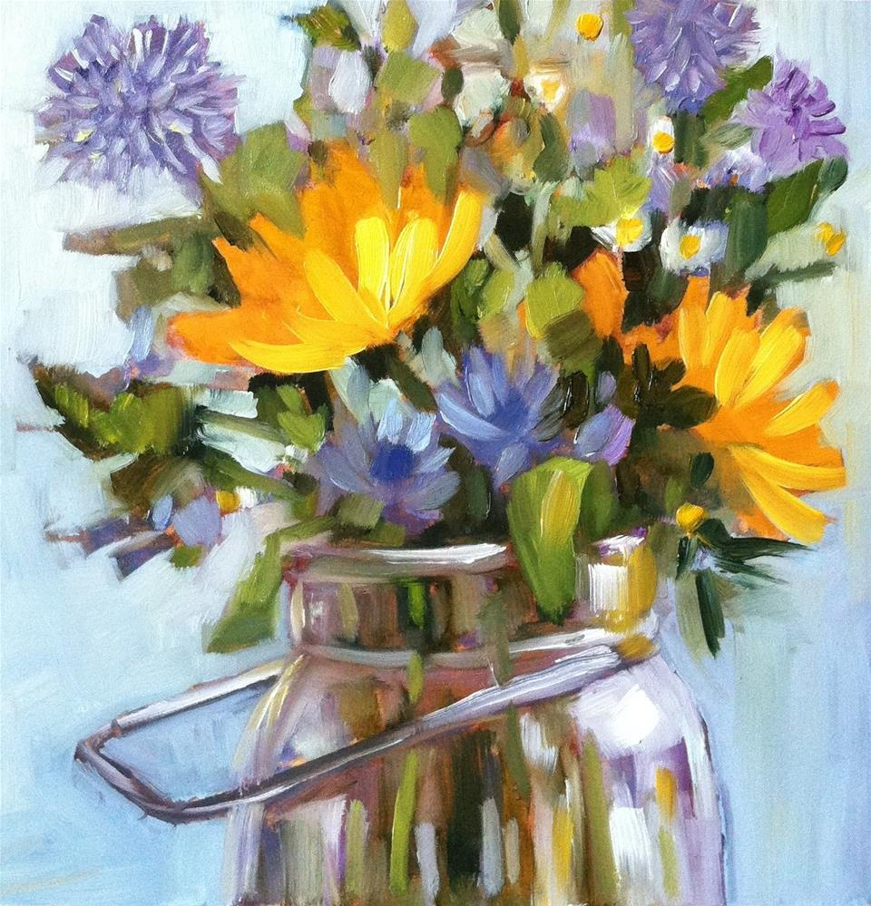 """Sunny Blue and Yellow"" original fine art by Libby Anderson"