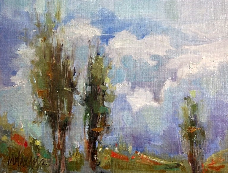 """Over The Hill"" original fine art by Mary Maxam"