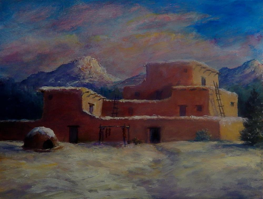 """Pueblo in Snow"" original fine art by Sharon Kay Baker"