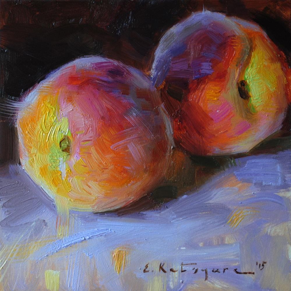 """First Peaches"" original fine art by Elena Katsyura"
