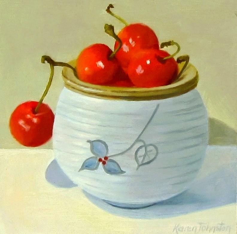 """""""Cup of Cherries"""" original fine art by Karen Johnston"""