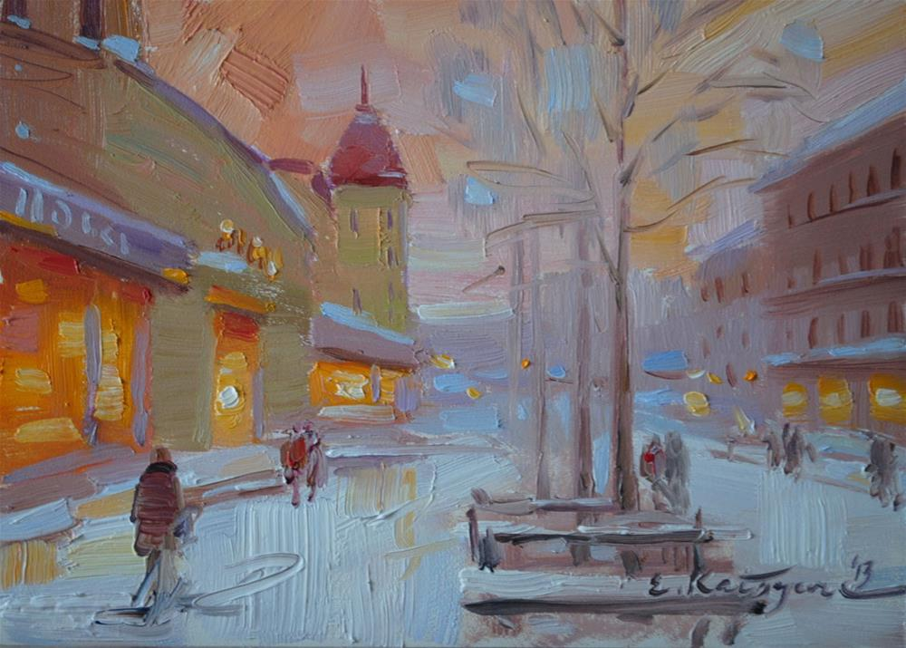 """Frosted Sunset"" original fine art by Elena Katsyura"