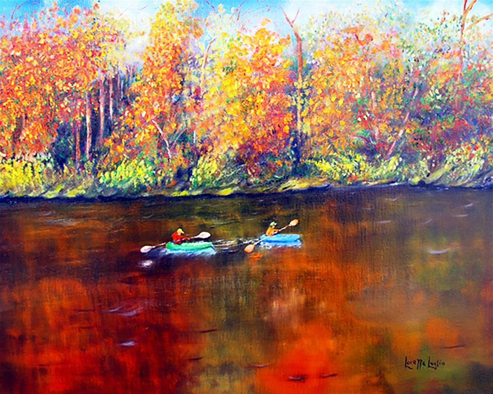 """Lake Nockamixon Autumn"" original fine art by Loretta Luglio"