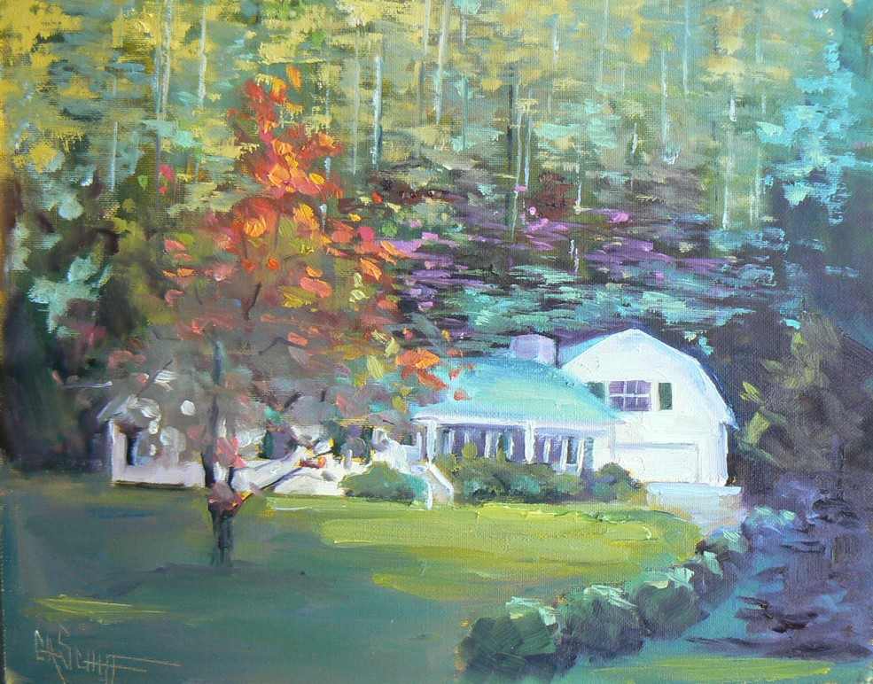 """MY CAROLINA HOME, 8X10, OIL"" original fine art by Carol Schiff"