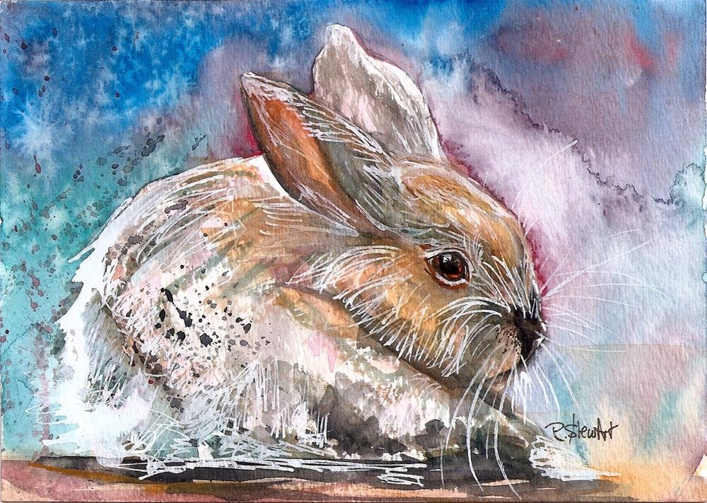 """5x7 White Rabbit Watercolor, Pen and Ink Mixed Media by Penny Lee StewArt"" original fine art by Penny Lee StewArt"