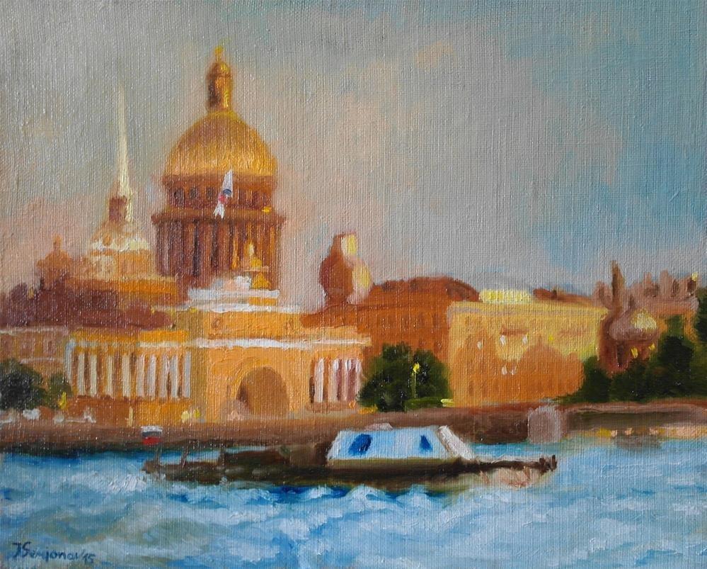 """romantic evening in St.Petersburg"" original fine art by Yuriy Semyonov"