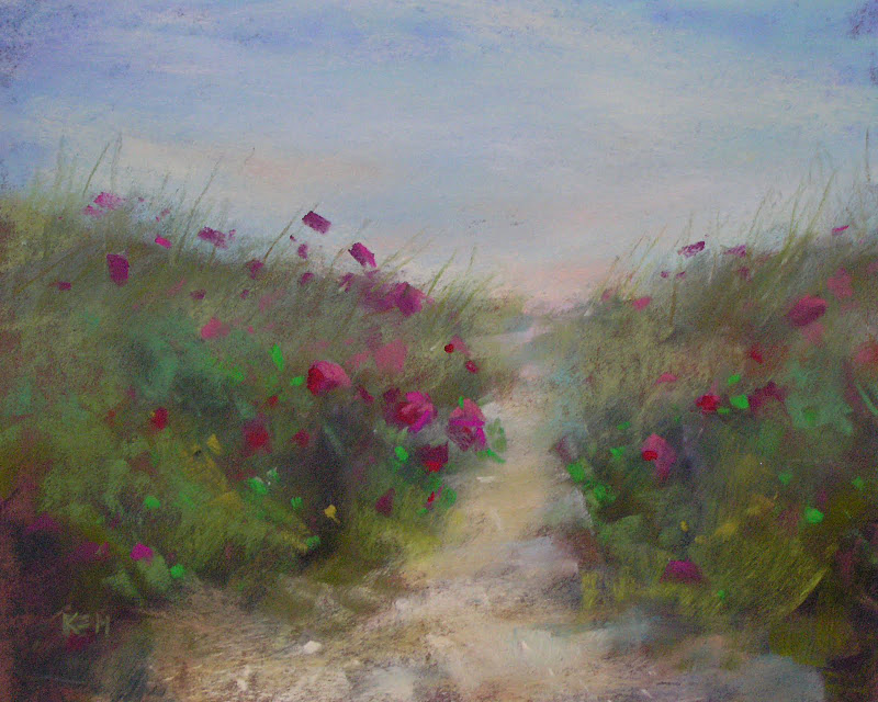 """Beach Path with Roses"" original fine art by Karen Margulis"