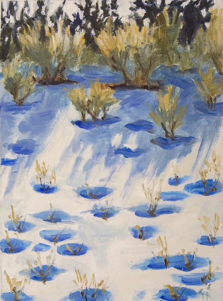 """Sagebush in the Snow"" original fine art by Rachel Steely"