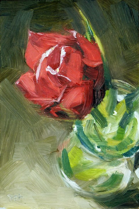 """Red Tulip"" original fine art by Deb Anderson"