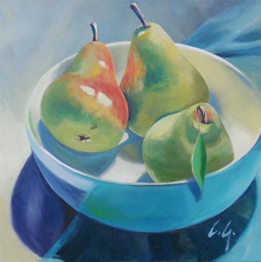 """Three Pretty Pears"" original fine art by Carla Gauthier"