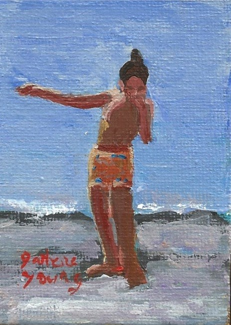 """925 Beach Kid, Ogden Point Scene, oil on board, 2.5x3.5"" original fine art by Darlene Young"