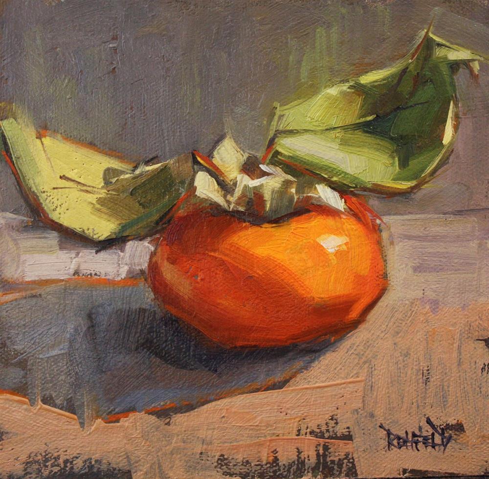 """One Persimmon"" original fine art by Cathleen Rehfeld"