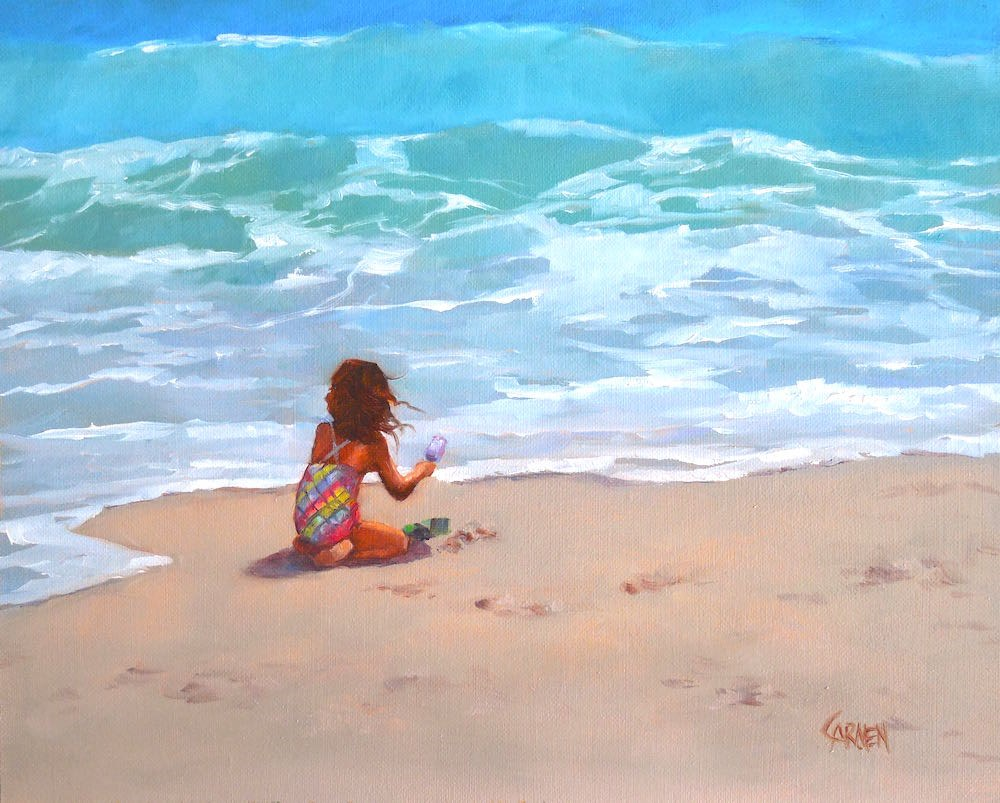 """Happiness, 10x8 Oil Painting on Canvas Panel, Seascape with Figure"" original fine art by Carmen Beecher"
