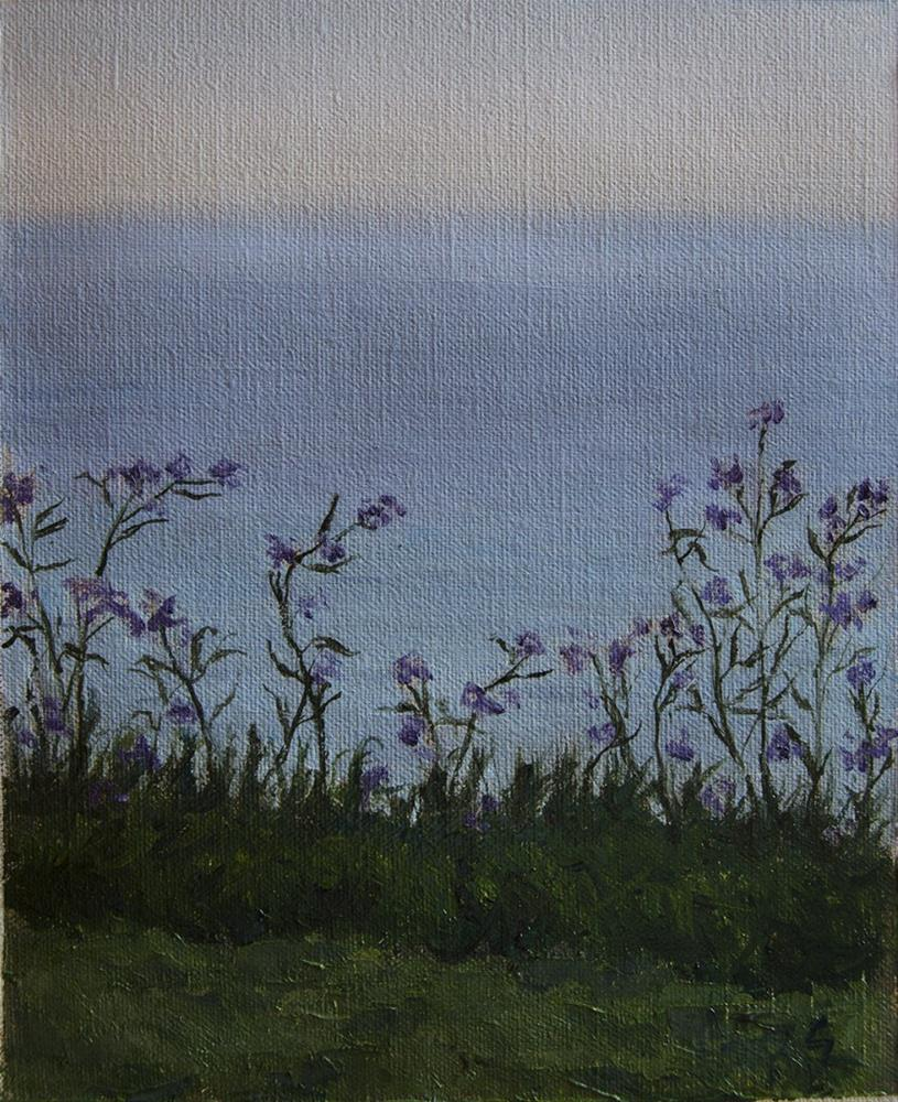 """Purple flowers in front of the Lake"" original fine art by Rachel Steely"